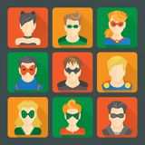 Set of superheroes stickers Royalty Free Stock Photos