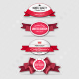 Set of Superior Quality and Satisfaction Guarantee Ribbons, Labels, Tags. Retro vintage style Royalty Free Stock Photos