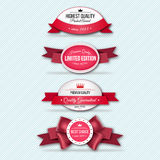 Set of Superior Quality and Satisfaction Guarantee Ribbons, Labels, Tags. Retro vintage style Stock Photo