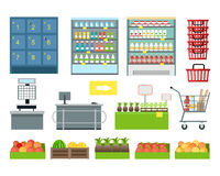 Set of Supermarket Furniture and Equipment Vector. Royalty Free Stock Images