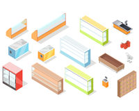 Set of Supermarket Furniture and Equipment Vector Stock Photos