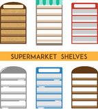 Set of supermarket shelves. Minimal flat vector illustration Royalty Free Stock Photos
