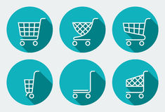 Set of Supermarket trolley. Flat Vector Illustration Royalty Free Stock Photo
