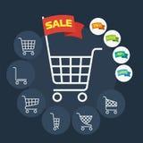 Set of Supermarket trolley. Flat Vector Illustration stock illustration