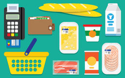 Set supermarket vector icons Stock Images