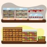 Set supermarketa działów, owoc i mleka sklep spożywczy, sklepu spożywczego rząd z jarzynowymi produktami na shelfs w rynku Zdjęcia Stock