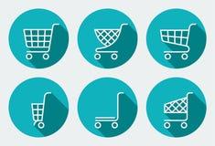 Set supermarketa tramwaj ilustracji