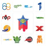 Set of superstar, orange lion, wild hog, ayurvedic, reunion, xfactor, lawn mower, slug, rap icons. Set Of 13 simple editable icons such as superstar, orange lion Royalty Free Stock Photos