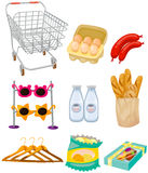 Set supmerket sklepy spożywczy ilustracja wektor
