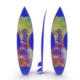 Set of surf boards on white 3D Illustration Stock Photos