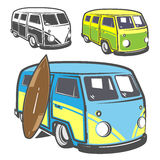 Set of surf car and surfer bus for emblems ,logo and prints. Royalty Free Stock Image