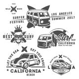 Set of surf car and surfer bus for emblems ,logo and prints. Stock Photos