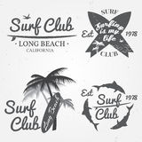 Set of Surf club concept Vector Summer surfing retro badge. Surfer club emblem , outdoors banner, vintage background. Boards,  pal Royalty Free Stock Image