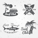 Set of Surf club concept Vector Summer surfing retro badge. Surfer club emblem , rv outdoors banner, vintage background. Boards, r Stock Photos
