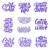 Set of Surf lettering quotes for posters, prints, cards. Surfing related textile design. Vintage illustration. Royalty Free Stock Image