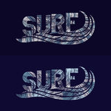 Set of Surf typography posters. Concept in vintage style Stock Photos