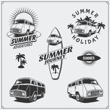 Set of surf van labels, badges and design elements. Travel retro bus. Summer vacation. Royalty Free Stock Images