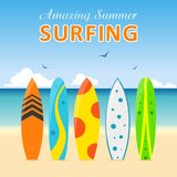 Set surfboards, different designs on beach. Summer sport surfing board. Set of surfboards with different designs on the beach in a flat style  on white Stock Image