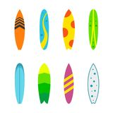 Set surfboards with different designs flat. Summer sport surfing board. Set of surfboards with different designs in a flat style isolated on white background Stock Photos