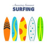 Set surfboards with different designs flat. Summer sport surfing board. Set of surfboards with different designs in a flat style isolated on white background Stock Photography