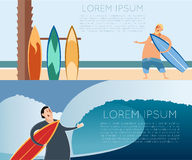 Set of surfer banners Royalty Free Stock Photos