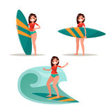 Set surfer girl. Posing with surfboard, riding on the waves. Vec. Tor illustration of a flat design Royalty Free Stock Photography