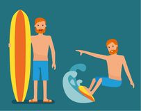 Set of surfer guy character on the crest wave isolated. Vector flat-style illustration Stock Image