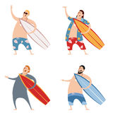 Set of surfers Royalty Free Stock Photo