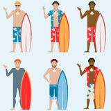 Set of Surfers Royalty Free Stock Image