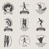 Set of Surfing club logos. Symbols or icons on white background Stock Photos