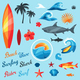 Set of surfing design elements and objects Stock Photos
