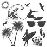 Set of surfing design elements Stock Photo