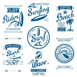 Set surfing labels and emblems on white background Stock Image