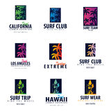 Set of Surfing logo and emblems for Surf Club or shop. Vector illustration. Royalty Free Stock Images