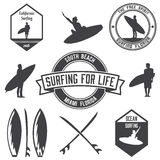 Set of surfing logos bundle, emblems and badges. Royalty Free Stock Photo