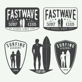 Set of surfing logos, labels, badges and elements in vintage sty. Set of surfing vector logos, labels, badges and elements in vintage style Stock Image