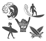 Set of surfing vintage design elements. Surf logo vector illustration. Surfboard logotypes. Retro style Royalty Free Stock Photos