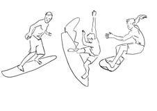 Set surfingowowie E ilustracji