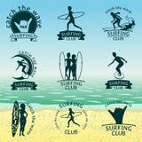 Set surfingu klubu logowie ilustracja wektor
