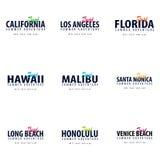 Set surfingu logo lub emblemat również zwrócić corel ilustracji wektora Zdjęcie Royalty Free