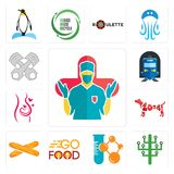 Set of surgeon, digital tree, chemical company, go food, baguette, year the dog, pregnancy, train station, piston log icons. Set Of 13 simple editable icons such Royalty Free Stock Image
