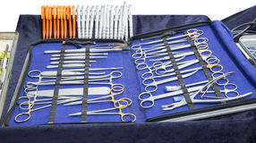 Set of surgical tools medical equipment isolated on white backgr Stock Photo