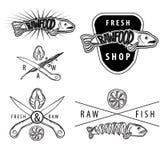 Set surowe karmowe łososiowe rocznik odznaki Zdjęcie Stock