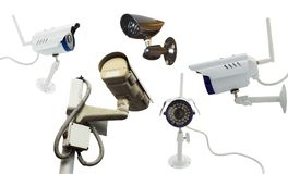 Set of surveillance camera recording. Isolated on white background royalty free stock photography
