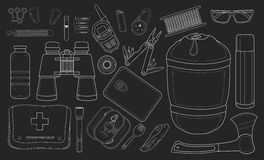 Set of survival camping equipment. Chalk Royalty Free Stock Photo
