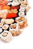 Set of sushi. On white background closeup Royalty Free Stock Images