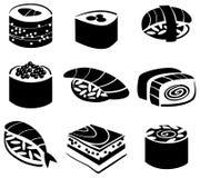 Set of sushi. Black and white illustration Royalty Free Stock Photos