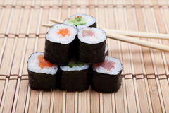 Set sushi on bamboo mat Stock Photography