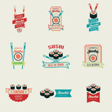 Set of sushi bar vector logos templates. Objects for labels or badges. Japanese food emblems. Stock Image