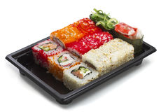 Set of sushi in black plastic box Stock Image